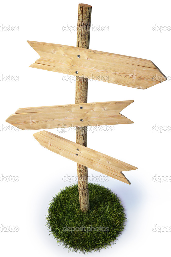 Three empty arrow sign made out of wood on a patch of grass. with clipping path. — Stock Photo #2073489