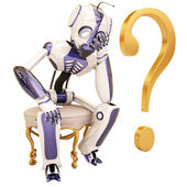 Robot and question — Stock Photo