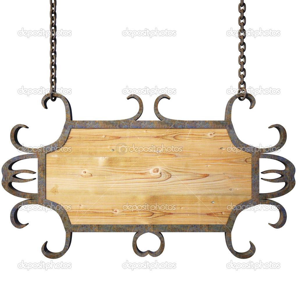 Wooden sign on the chains. with clipping path. — Stock Photo #2366769