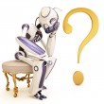 Roboter und Frage — Stockfoto #2555738
