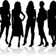 Fashion women 5 silhouettes vector — Vettoriali Stock