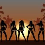 chicas guapas en la playa 2 — Vector de stock