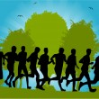 Group of running through park — Stock Vector