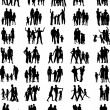 Stock Vector: Families black silhouettes collection