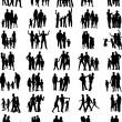 Familien-schwarze Silhouetten-Sammlung — Stockvektor