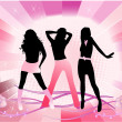 Beautiful girls - pink background — Stock Vector