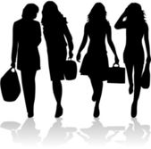 Fashionable women going shopping — Stock Vector