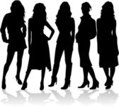 Fashion women 5 silhouettes vector — Stock Vector