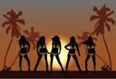 Beautiful girls on beach 2 — Vector de stock