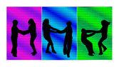Children in couples - color — Stok Vektör