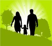 Green Illustration of family — Stock Vector