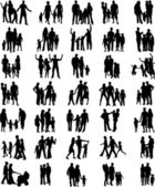 Families black silhouettes collection — Vector de stock