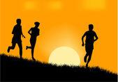 Running silhouette vector — Stock Vector