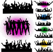 Mega party - Push your hands up — Stock Vector