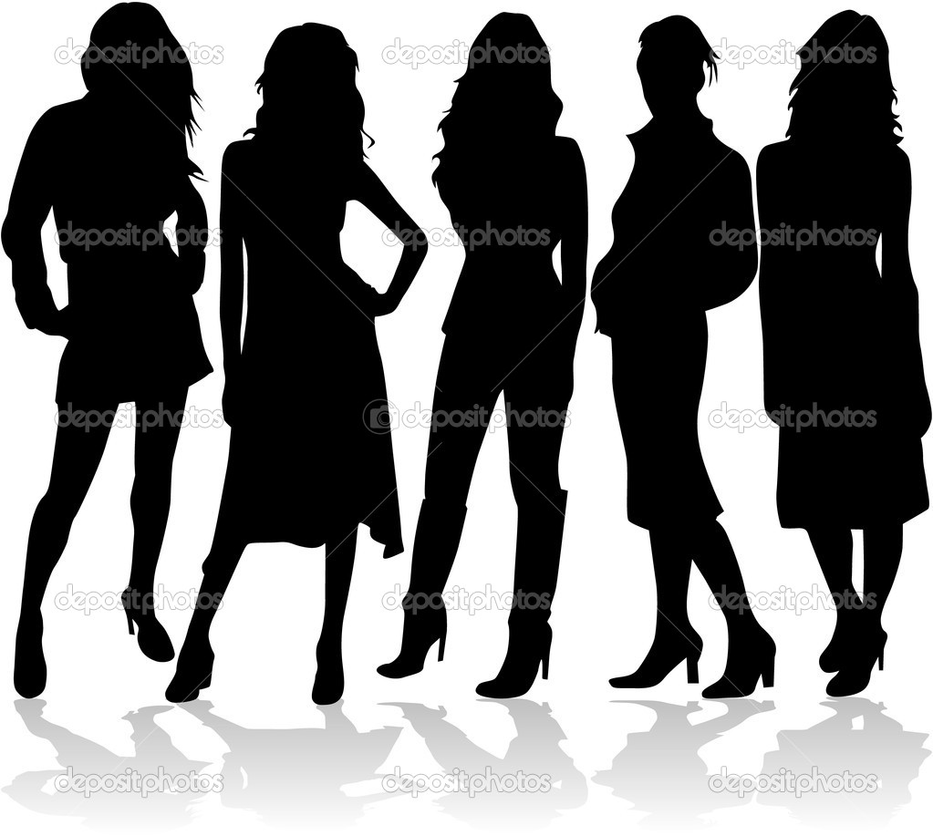 Fashion women 5 silhouettes vector — Stock Vector #2053805