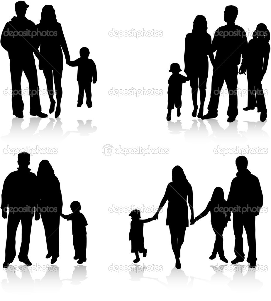 silhouettes of parents with children — Stock Vector #2056018