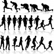 Running - black silhouettes — Vector de stock #2066059