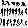 Running - black silhouettes — Vector de stock