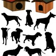 Dogs collection silhouette - vector - Stock Vector