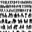 Collection Of Family Silhouettes - Stok Vektr
