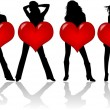 Royalty-Free Stock Векторное изображение: Girls With Heart , vector work 2