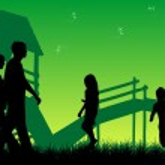 Happy family walks on nature, sunset — Stock Vector #2067796