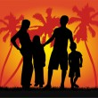 Stock Vector: Family on vacations