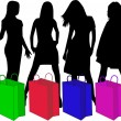 Stock Vector: Shopping Silhouettes, vector work