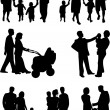 Stock Vector: Family - silhouette