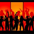 Stock Vector: Funky Party Crowd