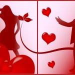 romantica scena d'amore — Vettoriale Stock