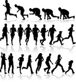 Running - black silhouettes — Stockvector
