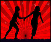 Running girls - red background — Stock Vector