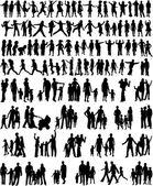 Kolekce rodinných siluety — Stock vektor
