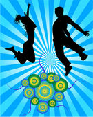 Jumping copule - illustration — Stock Vector