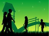 Happy family walks on nature, sunset — Stock Vector