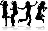 Fantastic girls jump — Stock Vector