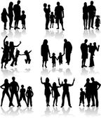 Family Silhouettes — Stock Vector