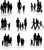 Family Silhouettes — Vector de stock