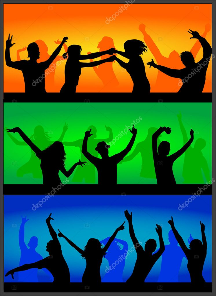 Party time , A crowd of cheering at a concert. — Stock Vector #2067240