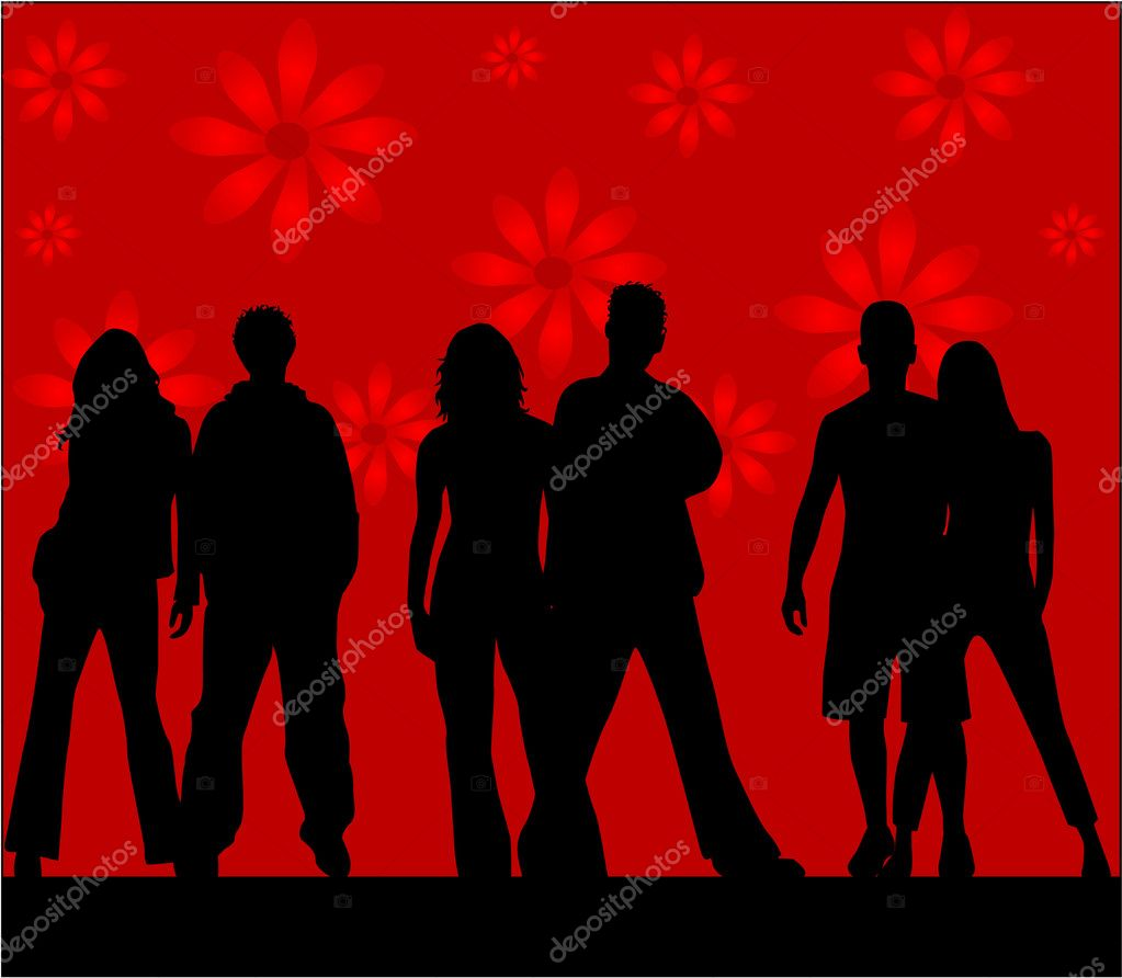 Friends  - silhouettes , red background — Stock Vector #2067467