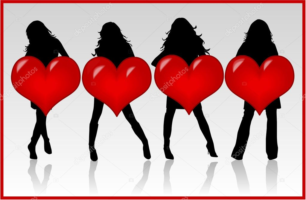 Girls With Heart , vector work  Stock Vector #2067747