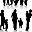 Stock Vector: Family Subject Silhouettes
