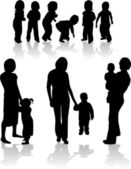 Family Subject Silhouettes — Stock Vector