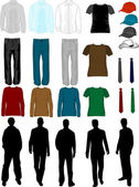 Erkek giysi koleksiyonu — Stok Vektör