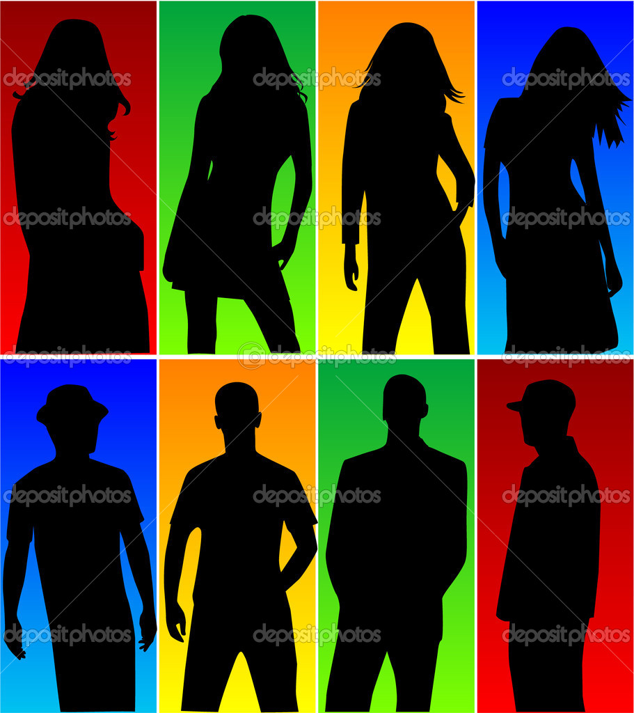 Silhouette - color background — Vettoriali Stock  #2557890