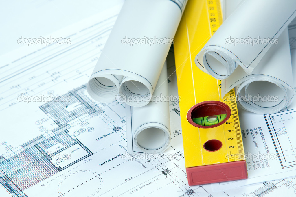 Construcion plans, maps and other equipment — Stock Photo #2058113