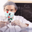 Stock Photo: Scientist, molecule and table