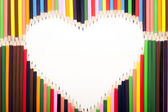 Colored Pencils Heart — Stock Photo