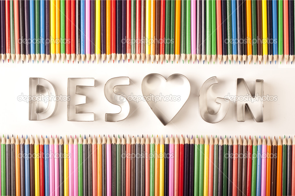 Design and colored pencils — Stock Photo #2063033